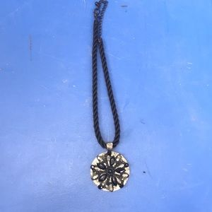 Chico's Black Floral Pendent on Silk Cord